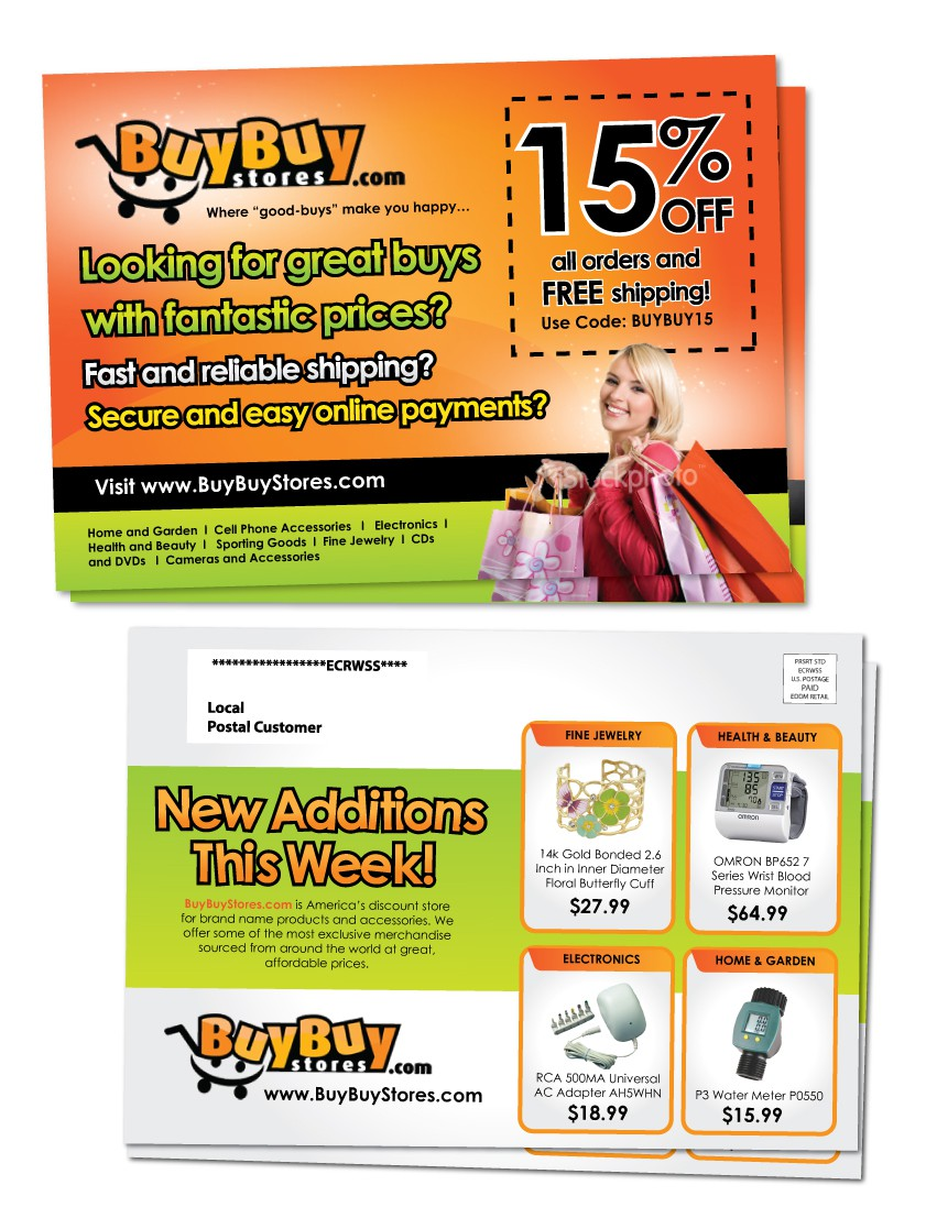 postcard or flyer for BuyBuyStores.com