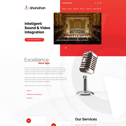 Homepage for a company in audio/video business