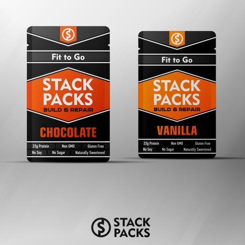 Stack Packs packaging label