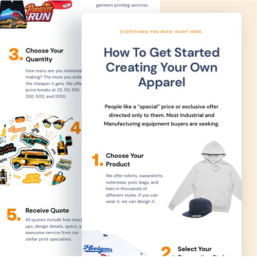 Email Template for a Merchandise printing company
