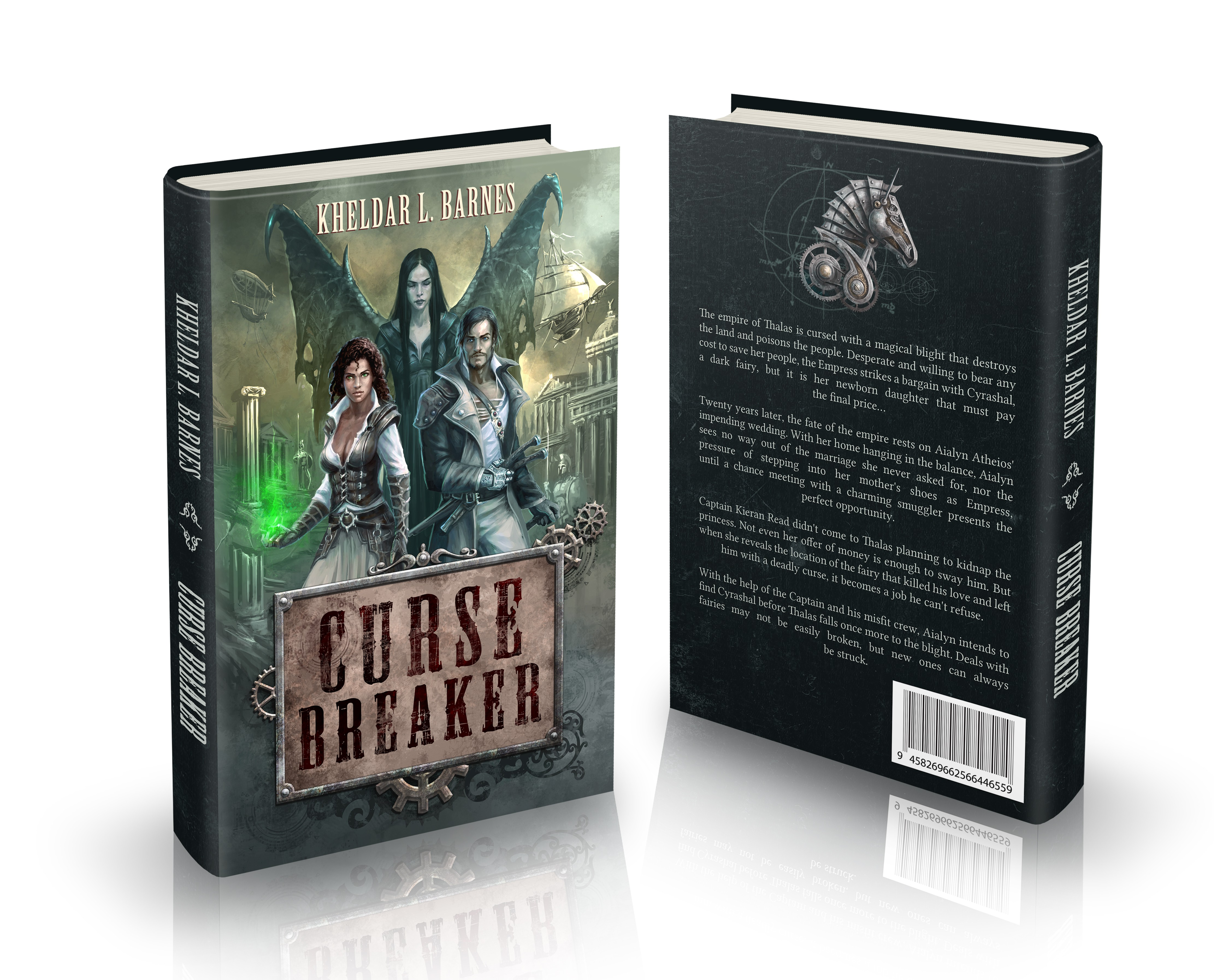 Book jacket for CURSE BREAKER, book 1 of a medieval fantasy/steampunk duology
