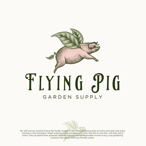 Logo design for Flying Pig Graden Supply