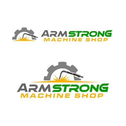a traditional logo for a metal machine shop
