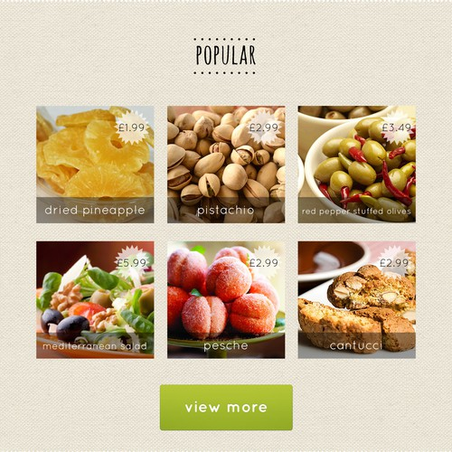 Home page for food company