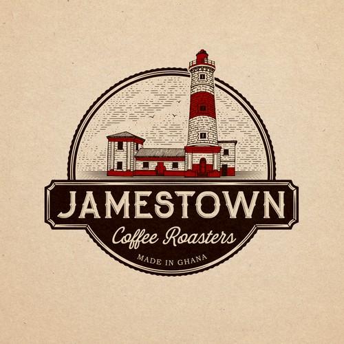 Emblem logo design for coffee roasters from Jamestown, Ghana.