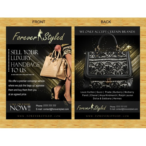 Help Forever Styled with a new postcard or flyer