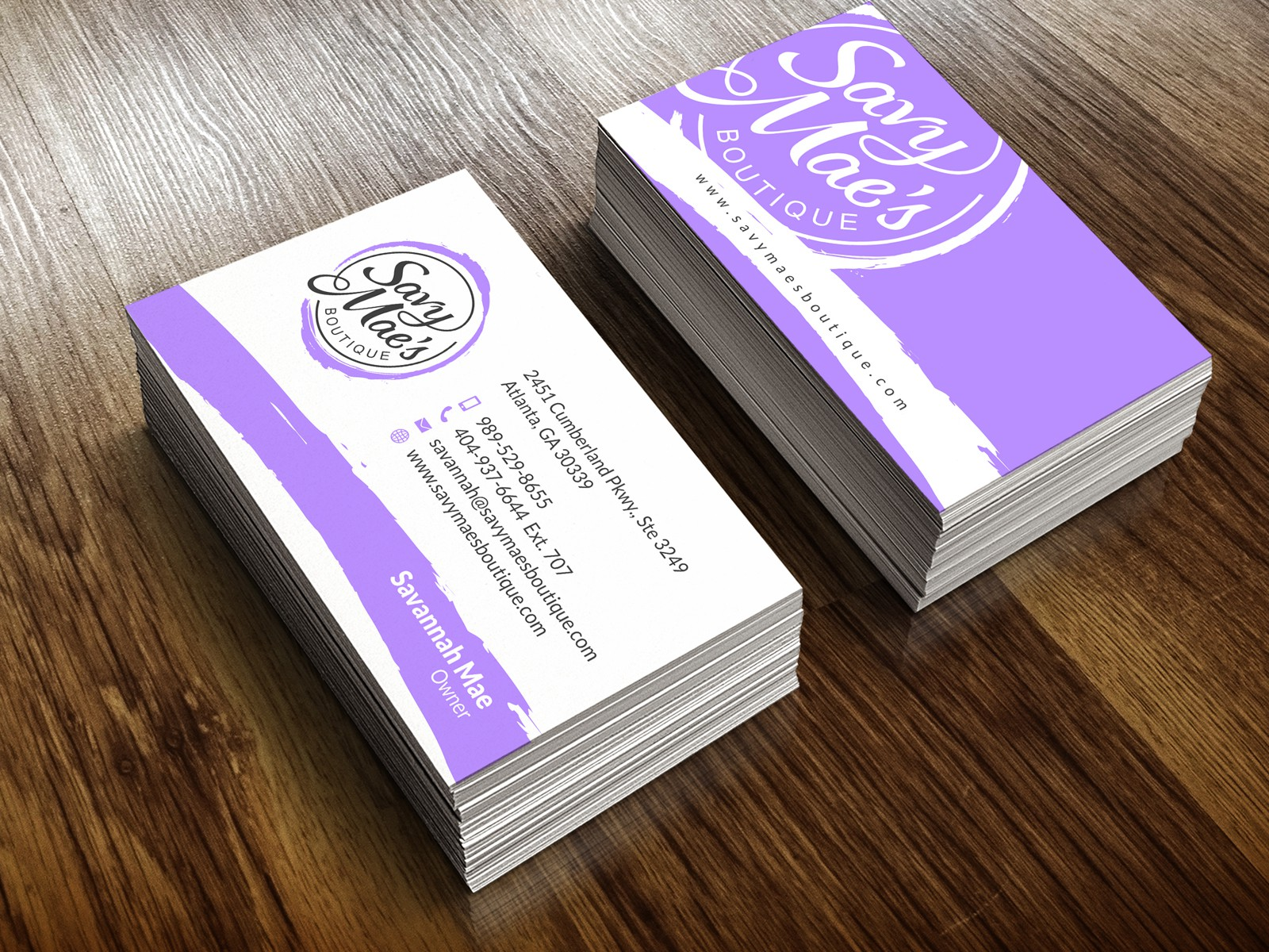 Create an attractive business card design for our clothing boutique: Savy Mae's Boutique