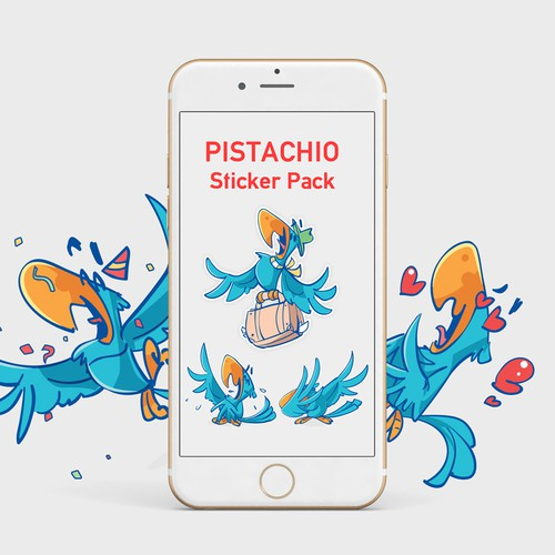 Pistachio Stickers pack