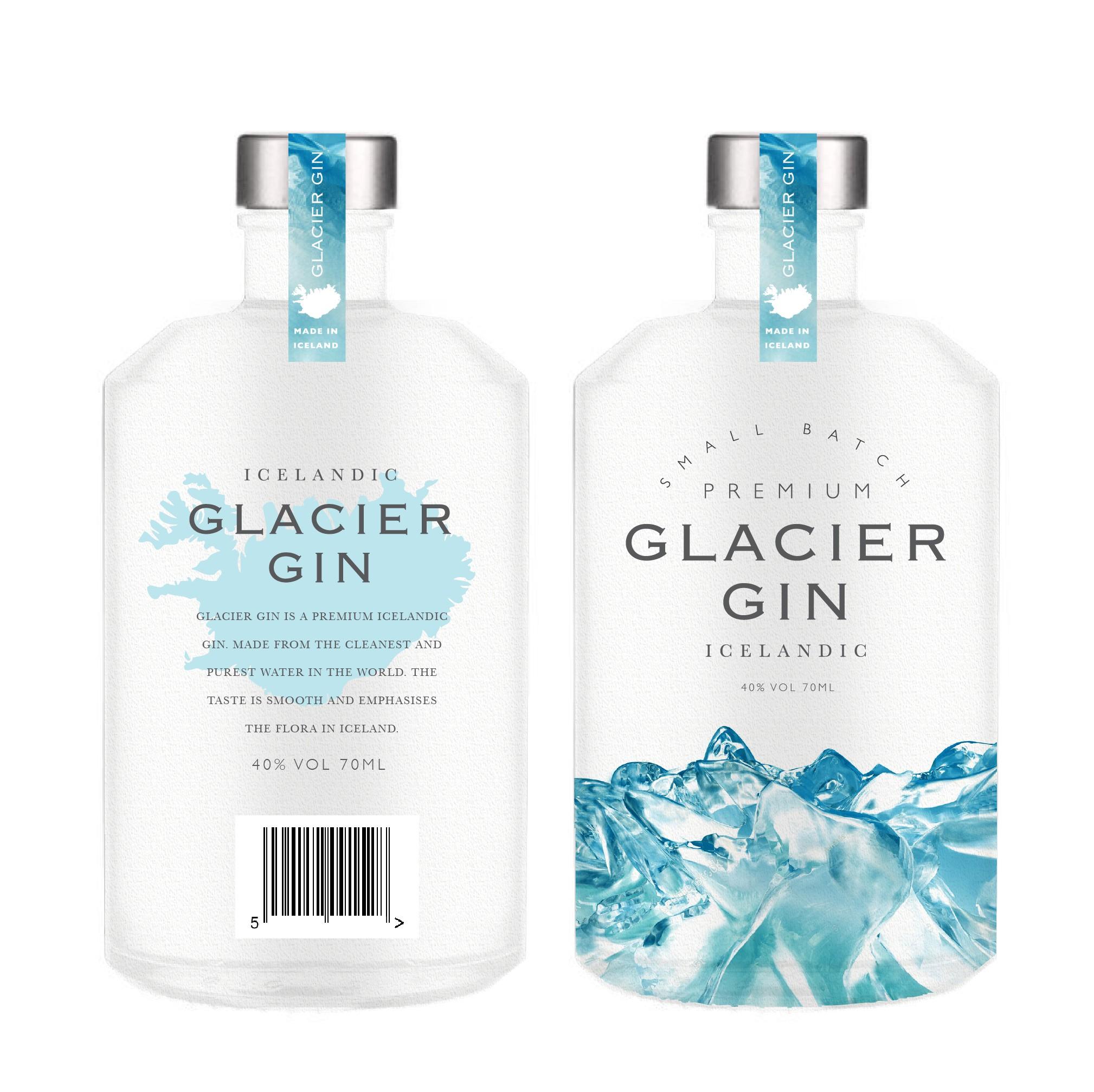 Design a premium gin bottle for Iceland