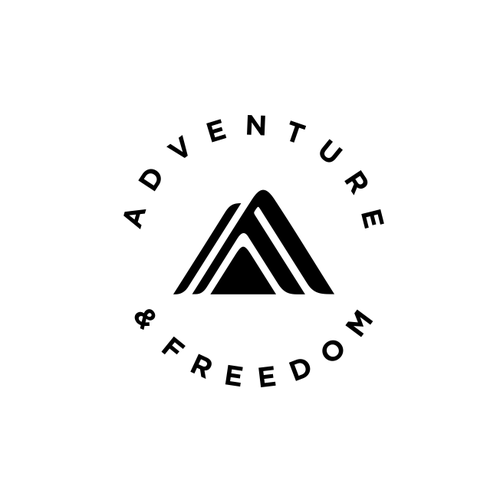 Design a Flat, Kinetic Logo, Clean and Simple, to symbolize a Life of Adventure and Freedom