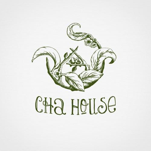 Hand drawn logo for tea house.