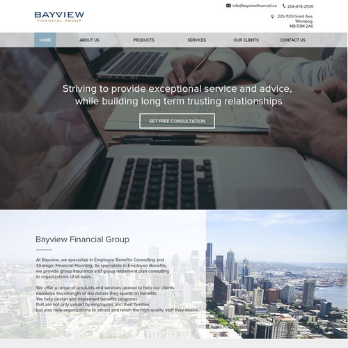 Consulting firm landing page
