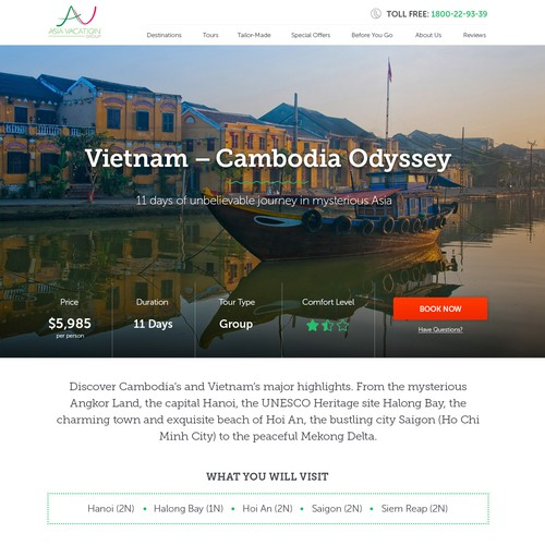 Travel tour - landing page