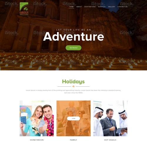 Landing page for a travel website