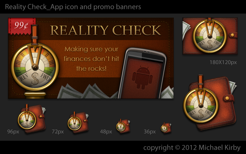 Launch Icon and Marketplace Promotional & Feature graphics required for the Reality Check Android Application