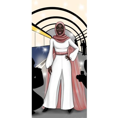 Muslim Model Bookmark Illustration