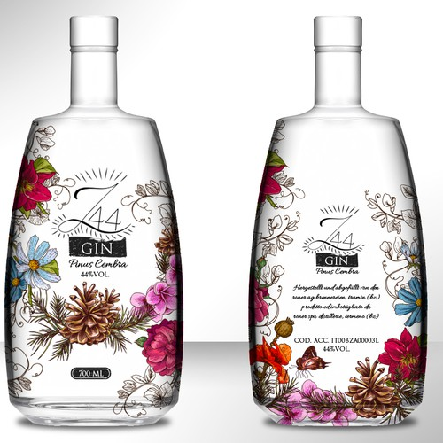 Gin Bottle & packaging design + merchandising