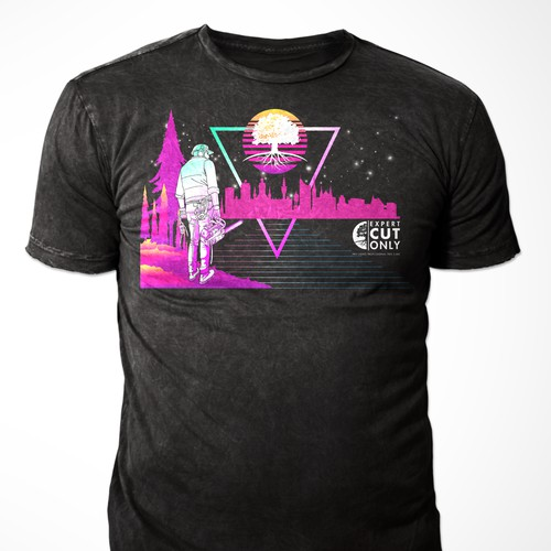 Design a t-shirt from the Kavinsky outrun cover, a fresh summer shirt