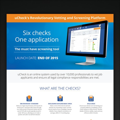 Clear, glossy & exciting PDF leaflet for uCheck's Revolutionary new HR Platform