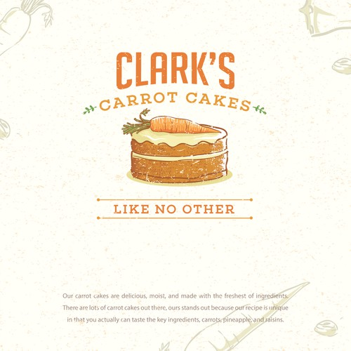 Rustic brand identity concept for Clark's Carrot Cake