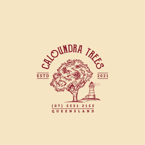 Logo for local tree services business incorporating iconic lighthouse and tree in design