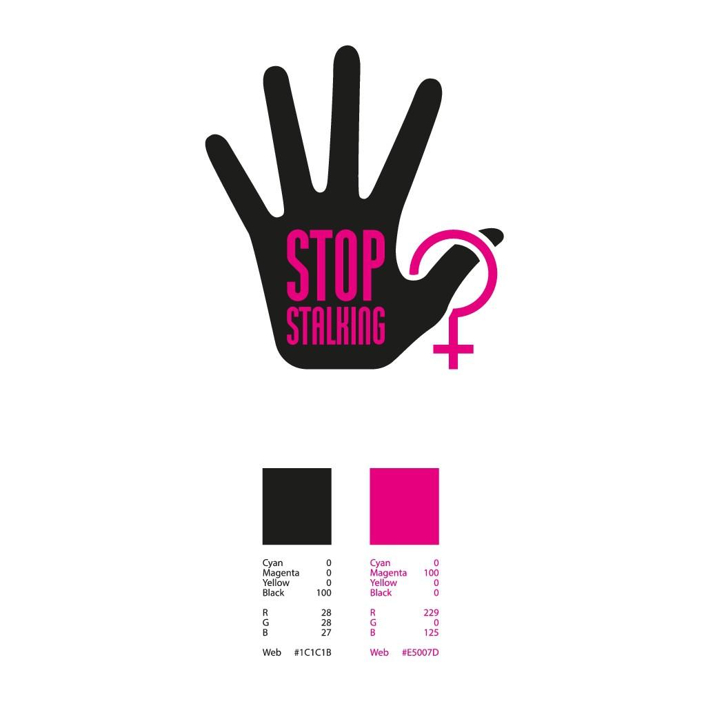 Creare un logo con la scritta Stop Stalking che rappresenti il significato della scritta
