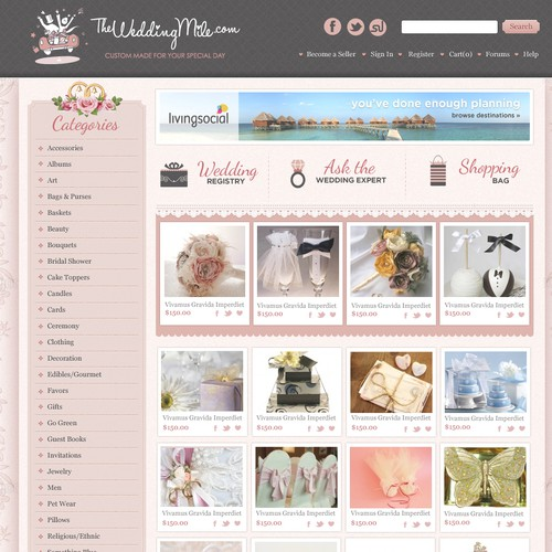 Web design concept for weddings and accessories