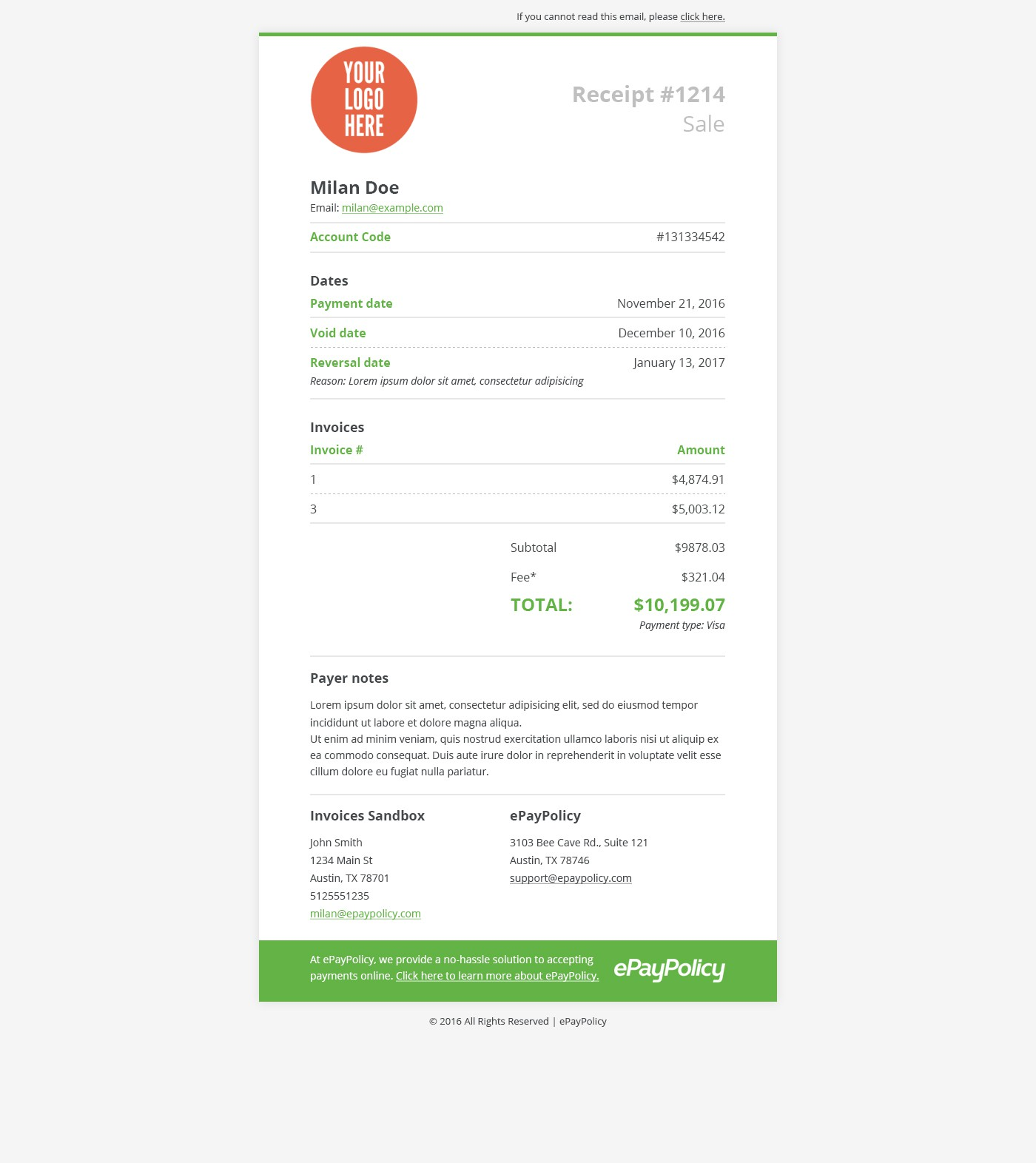 We need an email friendly e-receipt once a payment has been processed