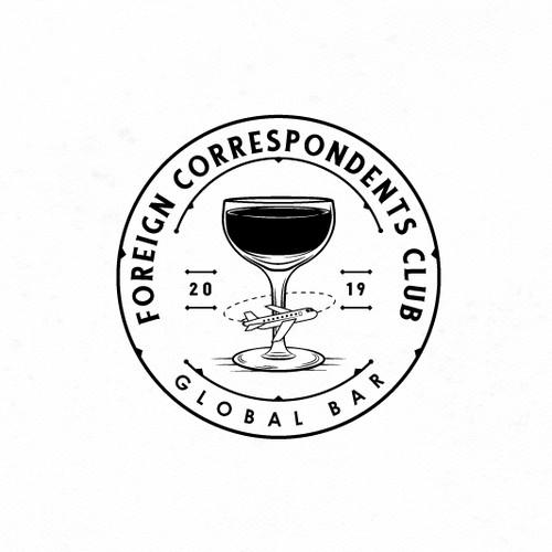 Vintage logo travel-inspired speakeasy bar.