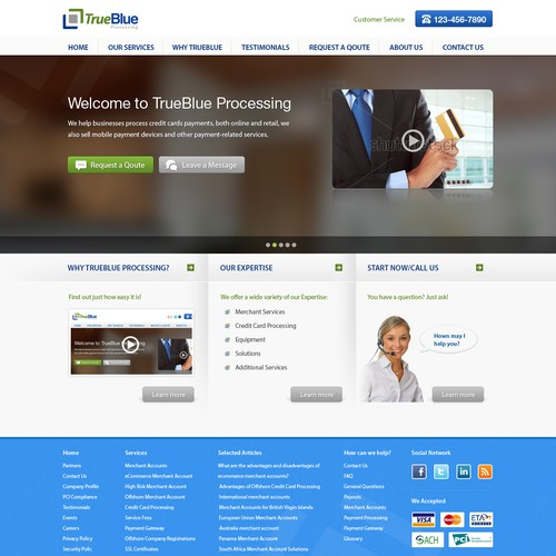 Create the next website design for TrueBlue Processing