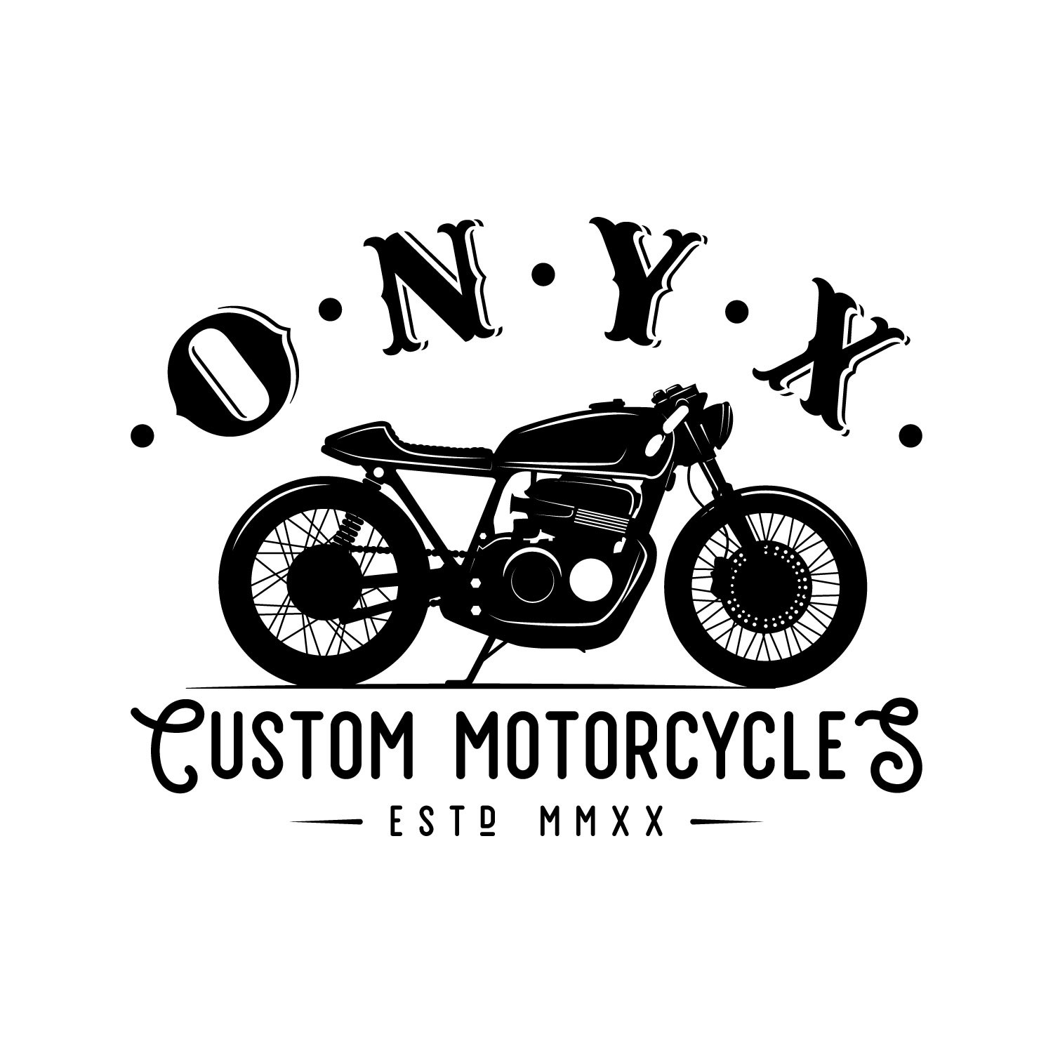 Modern classic logo for sophisticated custom motorcycle startup.