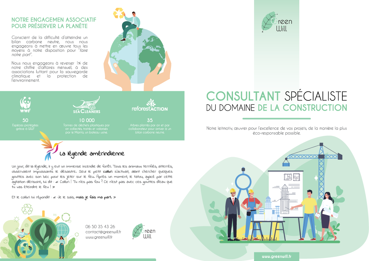 Create a brochure for a construction company with a green will