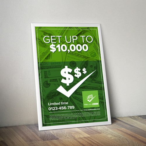 Simple, Attractive Poster Design for Title Loan company.