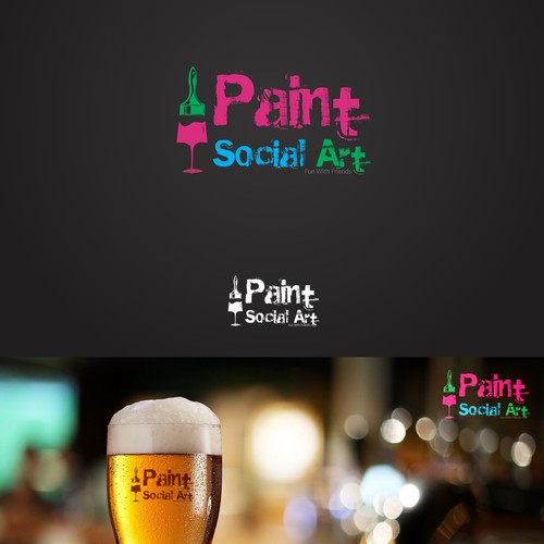 Create a recognizable logo for a drinking and painting business at local bars