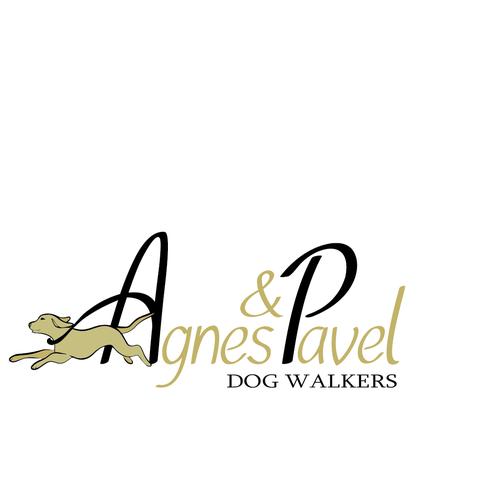 Simply elegant dog walking logo