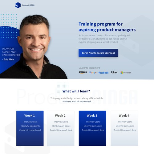 Coaching Website for an aspiring product managers