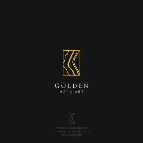 Luxurious logo design for Golden Mark Art.