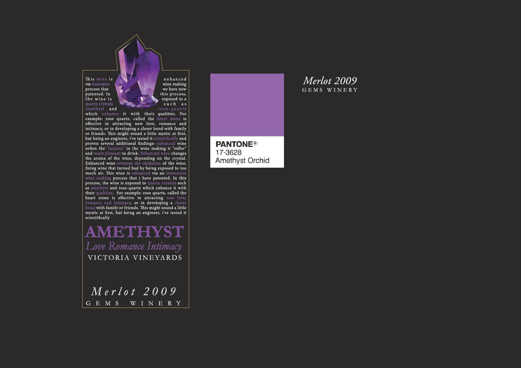 Create a Wine label for a cool new wine innovation