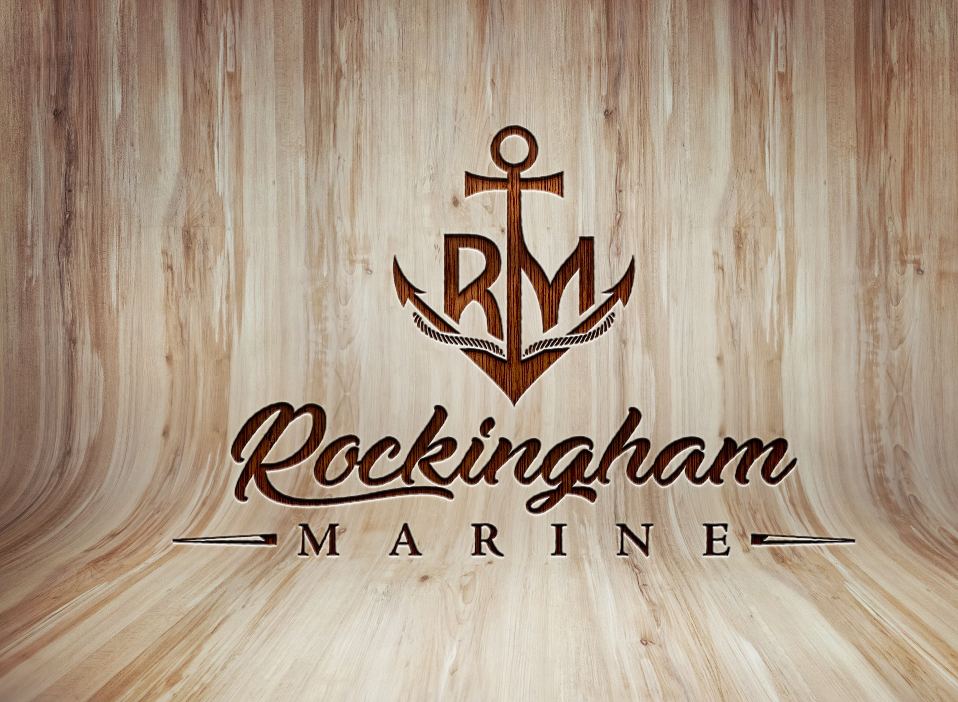 Design a rock and roll themed font and logo for Rockingham Marine. See attachments for inspiration.