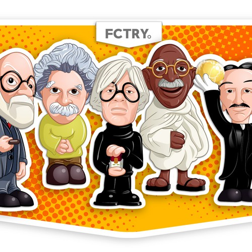 Einstein, Freud, Warhol, Tesla & Gandhi: Turn them into cartoon characters!