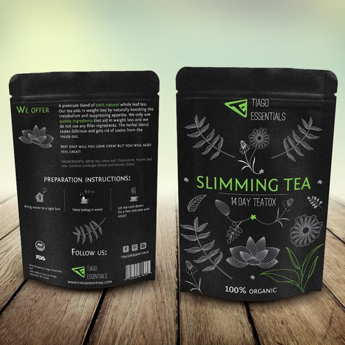 Sleek label for a weight-loss tea