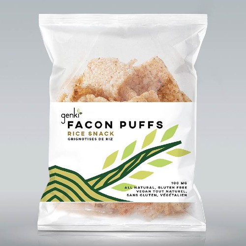 "Label Design for organic rice snack ""Facon Puffs"""