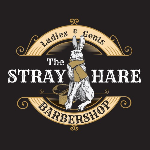 Vintage, pub like barbershop with Hare Illustration