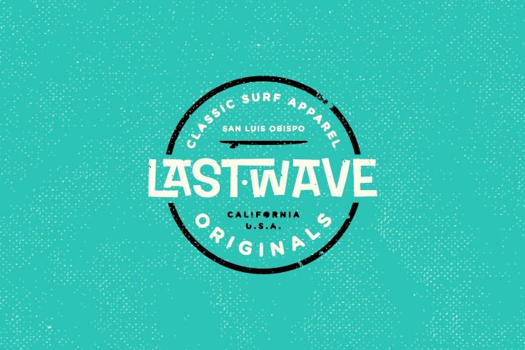 Create an authentic logo for Last Wave that captures the soul of the 1960's California surf culture