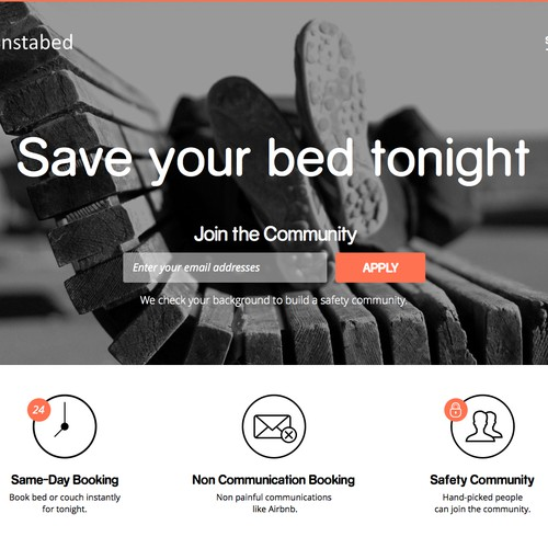 Landing page for simple, on-demand bed booking app