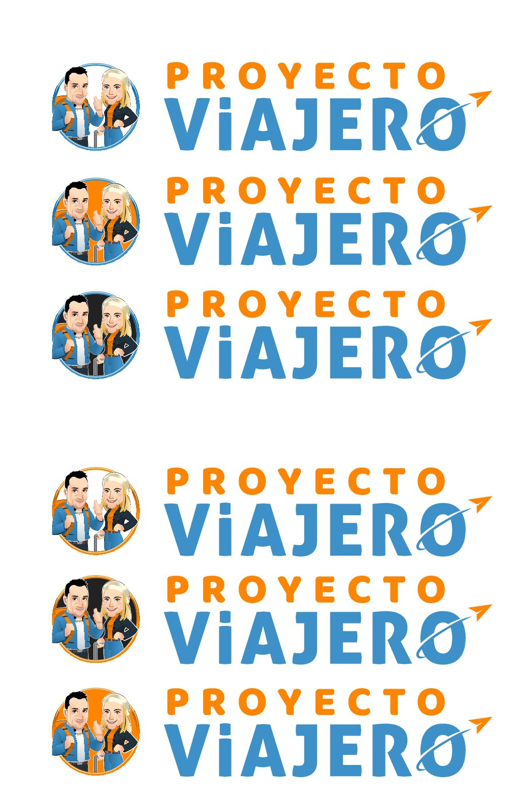 Design a modern logo featuring a moreno spanish guy and a blonde polish girl that love to travel