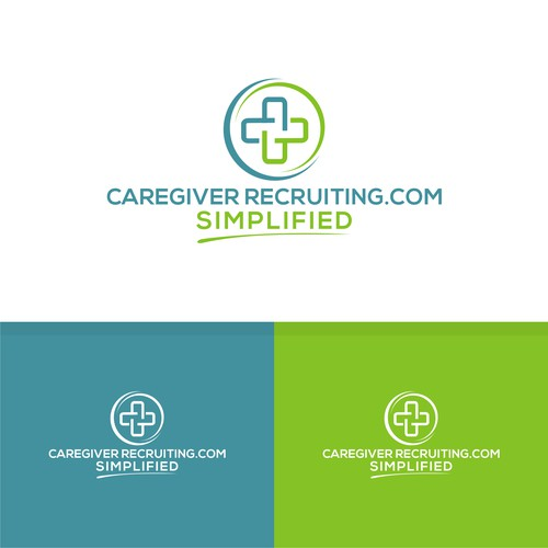Bold logo concept for caregiver recruiting.com