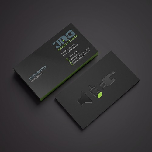 Business Card for a power equipment company called JRG Productions