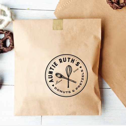 Create a striking, old fashioned logo for Auntie Ruth's Doughnuts!