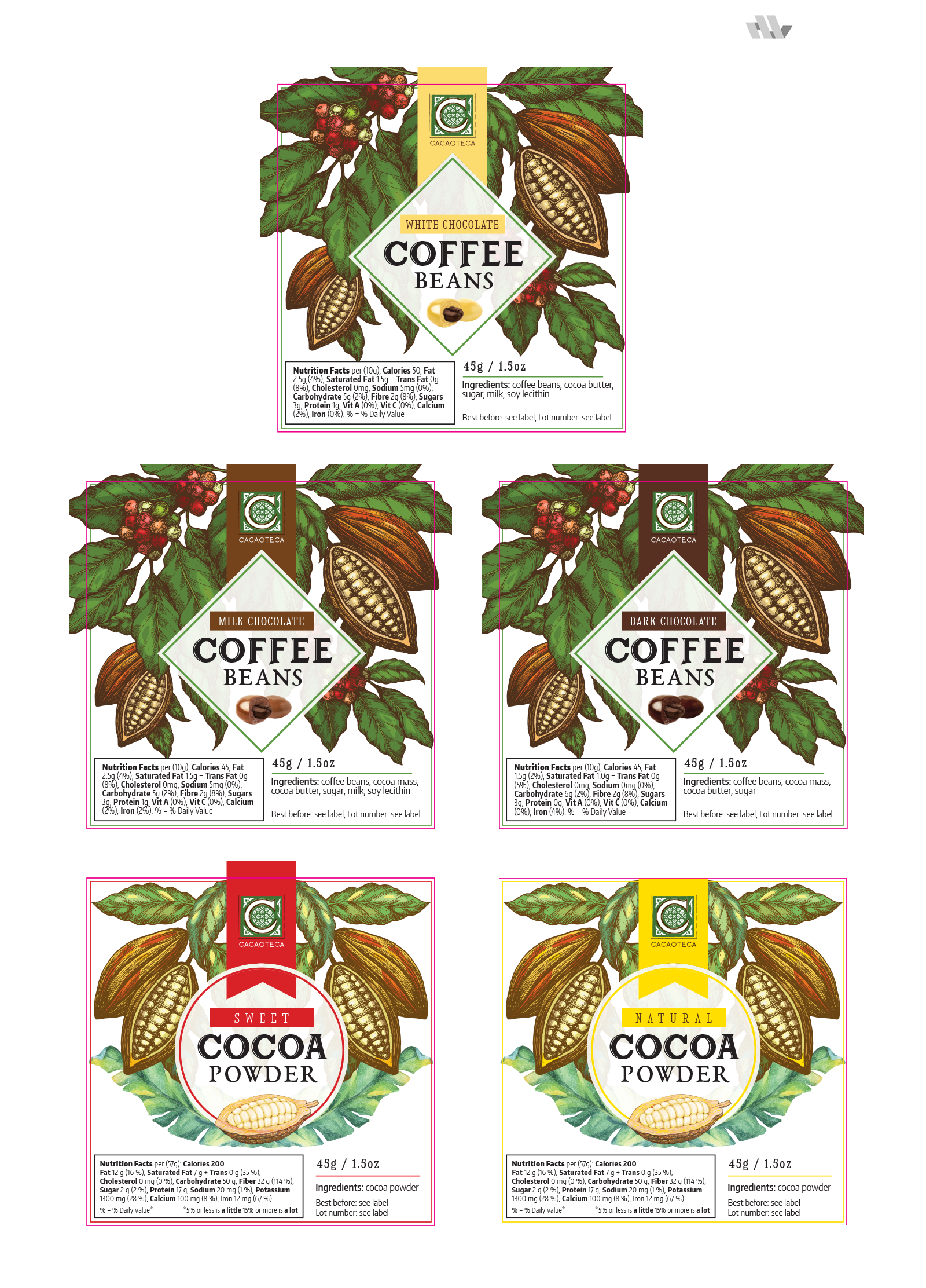 Chocolate covered coffee - labels 2